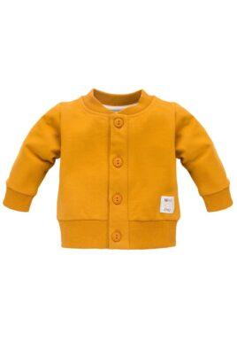 Pinokio currygelbe Baby Cardigan Sweatjacke mit Knöpfen, Rippbündschen & Patch für Jungen & Mädchen unifarben – Senfgelbes Oberteil Sweatshirt mit Rundhals – Vorderansicht