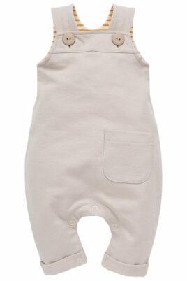 Pinokio beige Baby Latzhose mit Tasche, innen gestreift currygelb weiß mit Beinumschlag für Jungen & Mädchen – Heller Langer Einteiler Trägerhose Babyhose – Vorderansicht