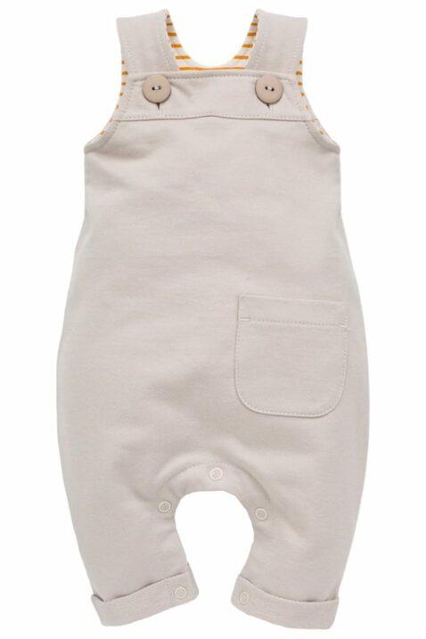 Beige Baby Latzhose mit Tasche, innen gestreift currygelb weiß mit Beinumschlag für Jungen & Mädchen - Heller Langer Einteiler Trägerhose Babyhose von Pinokio - Vorderansicht
