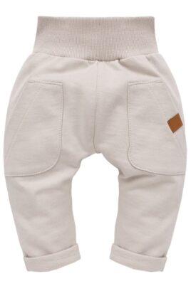 Pinokio beige Baby Pumphose Haremshose mit großen Taschen & Beinumschlag für Jungen & Mädchen – Basic Sweathose Sweatpants Schlupfhose Babyhose – Vorderansicht