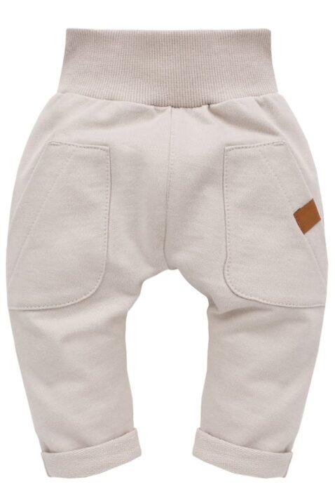 Beige Baby Pumphose Haremshose mit großen Taschen & Beinumschlag für Jungen & Mädchen - Basic Sweathose Schlupfhose Sweatpants Babyhose von Pinokio - Vorderansicht