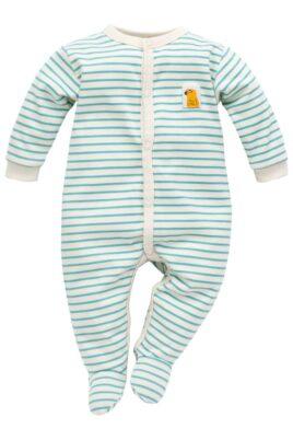 Pinokio türkis blauer ecru weisser gestreifter Baby Langarm Schlafstrampler Schlafoverall mit Füßen & Papagei Patch für Jungen & Mädchen – Streifen Kinder Schlafanzug mit Fuß – Vorderansicht