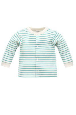 Pinokio gestreifter langarm Baby Cardigan in Türkisblau weiß ecru für Jungen & Mädchen – Streifen Oberteil Babyjäckchen – Vorderansicht