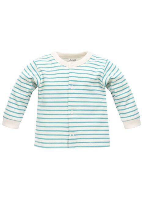 Gestreifter langarm Baby Cardigan in Türkisblau weiß ecru für Jungen & Mädchen - Streifen Oberteil Babyjäckchen von Pinokio - Vorderansicht