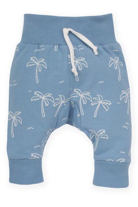 Blaue Baby Leggings Sweathose Schlupfhose mit Palmen, breitem Komfortbund & Bündchen für Jungen - Hellblaue lange Sommerhose von Pinokio - Vorderansicht