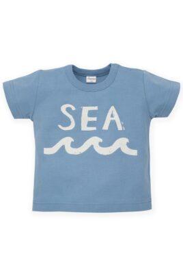 Pinokio blaues Baby T-Shirt mit SEA Print & Meereswellen Ocean Meer Motiv für Jungen – Babyshirt kurzarm Kinder Oberteil Sommershirt – Vorderansicht