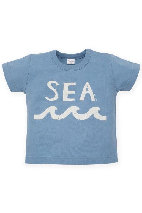 Blaues Baby T-Shirt mit SEA Print & Meereswellen Ocean Meer Motiv für Jungen - Babyshirt kurzarm Kinder Oberteil Sommershirt von Pinokio - Vorderansicht