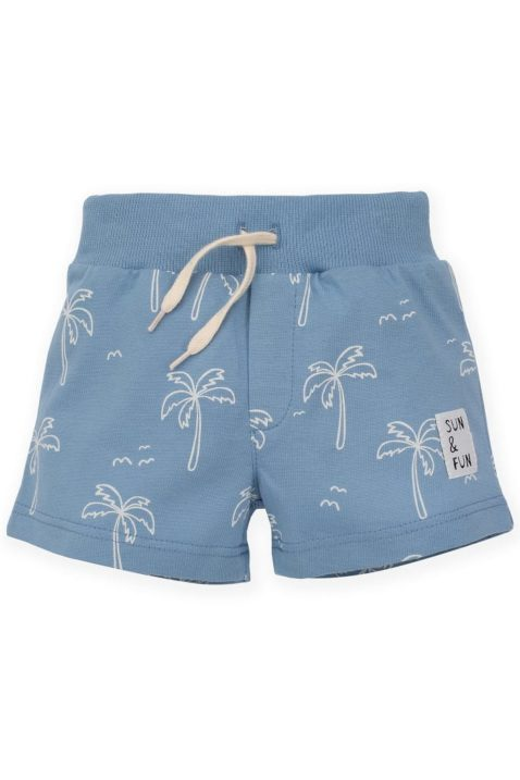 Blaue kurze Sommer Baby Shorts Hose mit Palmen, Patch SUN & FUN & elastischer gerippter Gummizugbund mit Kordel für Jungen aus Baumwolle von Pinokio - Vorderansicht