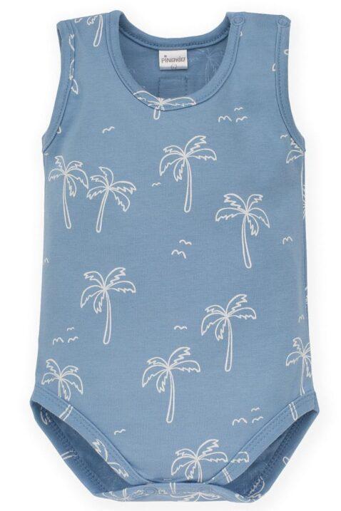 Blauer Baby Body ohne Arm mit Palmen, Meer, Insel für Jungen - Babybody ärmellos Oberteil ohne Ärmel Wäsche Unterwäsche Einteiler - Vorderansicht