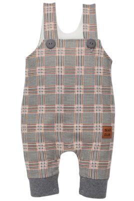 Pinokio grau gemusterte Baby Latzhose im Schottenmuster mit Beinbündchen & Leder Patch BEAR CLUB für Jungen – Langer Kinder Einteiler Trägerhose Babyhose – Vorderansicht