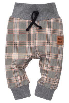Pinokio grau gemusterte Baby Leggings Sweathose Schlupfhose im Schottenmuster, Patch BEAR CLUB, breitem Komfortbund & Bündchen für Jungen – Lange Babyhose – Vorderansicht