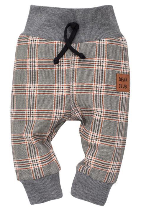 Grau gemusterte Baby Leggings Sweathose Schlupfhose im Schottenmuster, Patch BEAR CLUB, breitem Komfortbund & Bündchen für Jungen - Lange Babyhose von Pinokio - Vorderansicht