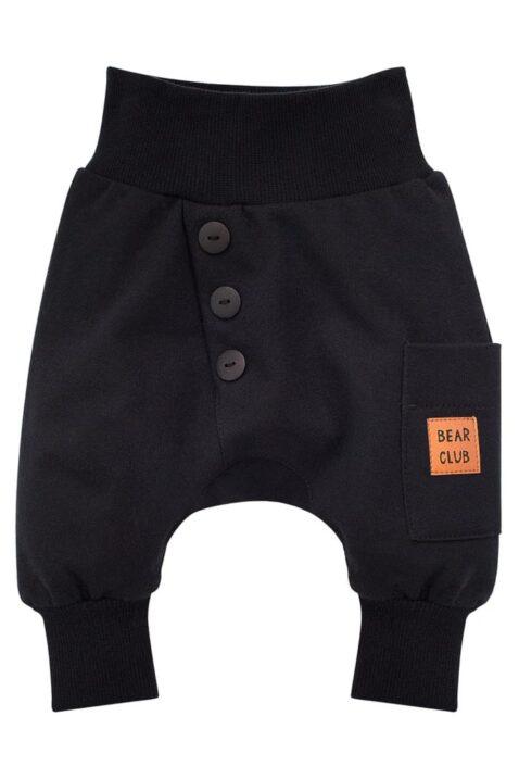 Schwarze Baby Pumphose Haremshose mit Knöpfen Knopfleiste, Tasche mit Patch BEAR CLUB Patch für Jungen - Dunkle Basic Sweathose Sweatpants Babyhose von Pinokio - Vorderansicht