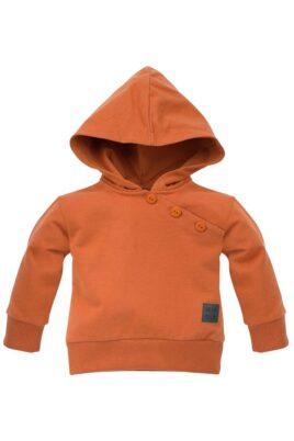 Pinokio brauner Baby Kapuzenpullover mit Knöpfen & Patch BEARS CLUB für Jungen – Hoodie rostbraun orange Babypullover – Vorderansicht