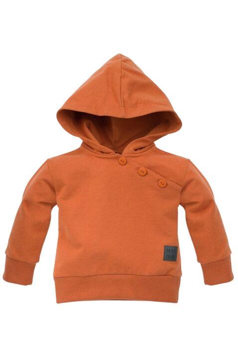 Brauner Baby Kapuzenpullover mit Knöpfen & Patch BEARS CLUB für Jungen - Hoodie rostbraun orange Babypullover von Pinokio - Vorderansicht