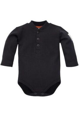Pinokio schwarzer Baby Body langarm Polo ohne Kragen, Knöpfe & Bären Patch für Jungen – Kinder Polobody Langarmbody Babybody Baumwollbody – Vorderansicht