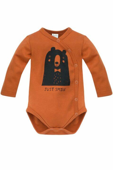 Brauner Baby Wickelbody langarm mit Bär JUST SMILE für Jungen - Rostbrauner Body Langarmbody mit langen Ärmel Babybody aus Baumwolle von Pinokio - Vorderansicht