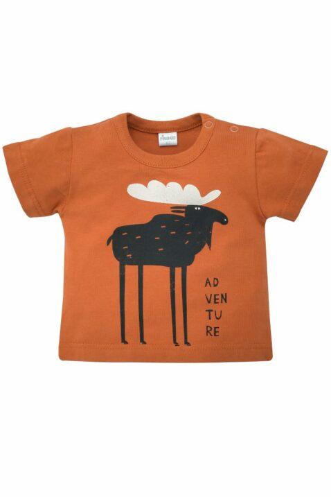 Braunes Baby kurzarm T-Shirt mit Elch & ADVENTURE Print für Jungen - Rostbraunes Babyshirt Kinder Oberteil Printshirt von Pinokio - Vorderansicht