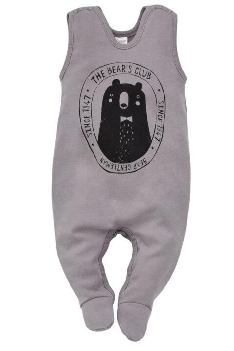 Grauer Baby Strampler mit Fuß & Bär für Jungen - Schlafstrampler Einteiler Strampelanzug mit Füßen Babystrampler aus Baumwolle von Pinokio - Vorderansicht