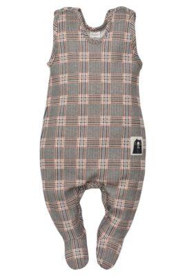 Pinokio grau gemusterter Schottenkaro Baby Strampler mit Fuß Schottenmuster Southdown Grey Tartan für Jungen – Schlafstrampler mit Füßen – Vorderansicht