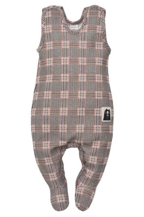 Grau gemusterter Schottenkaro Baby Strampler mit Fuß Schottenmuster Southdown Grey Tartan für Jungen - Schlafstrampler mit Füßen von Pinokio - Vorderansicht