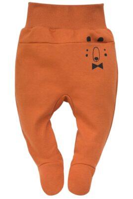 Pinokio orange braune Baby Strampelhose mit Fuß & Bären Tasche für Jungen – Rostbrauner Halb-Strampler Schlafhose mit Komfortbund Stramplerhose – Vorderansicht