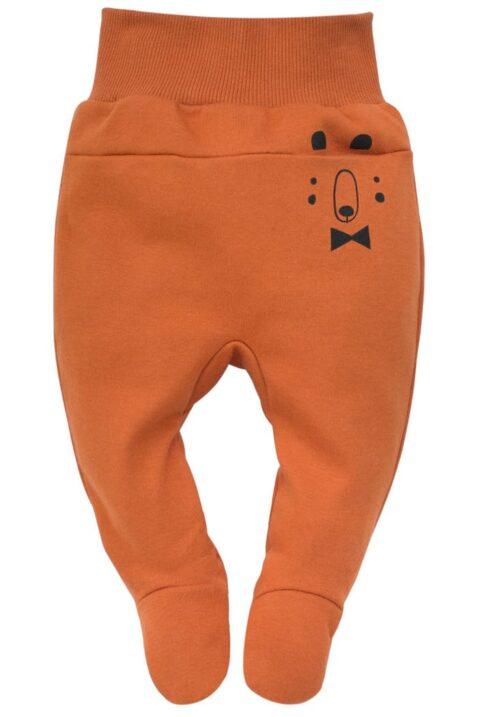 Orange braune Baby Strampelhose mit Fuß & Bären Tasche für Jungen - Rostbrauner Halb-Strampler Schlafhose mit Komfortbund Stramplerhose von Pinokio - Vorderansicht