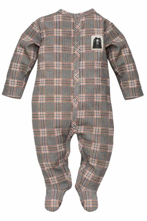 Gemusterter kariert grauer Baby Langarm Schlafstrampler Schlafoverall mit Füßen & Bären Patch für Jungen - Schottenmuster Kinder Schlafanzug mit Fuß von Pinokio - Vorderansicht