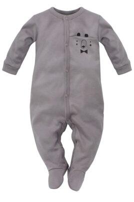 Pinokio grauer Baby Langarm Schlafstrampler Schlafoverall mit Füßen & Bären Tasche für Jungen – Kinder Einteiler Schlafanzug mit Fuß – Vorderansicht