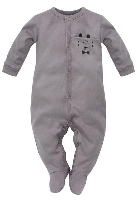 Grauer Baby Langarm Schlafstrampler Schlafoverall mit Füßen & Bären Tasche für Jungen - Kinder Einteiler Schlafanzug mit Fuß von Pinokio - Vorderansicht