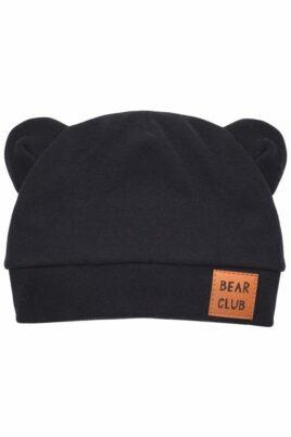 Pinokio schwarze Baby Mütze mit Bären Ohren & Patch BEAR CLUB für Jungen – BabymützeKindermütze mit Öhrchen Bärenmütze für Sommer, Herbst, Winter, Frühling – Vorderansicht