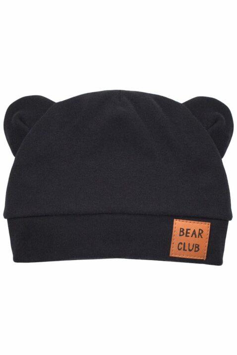 Schwarze Baby Mütze mit Bären Ohren & Patch BEAR CLUB für Jungen - BabymützeKindermütze mit Öhrchen Bärenmütze für Sommer, Herbst, Winter, Frühling von Pinokio - Vorderansicht