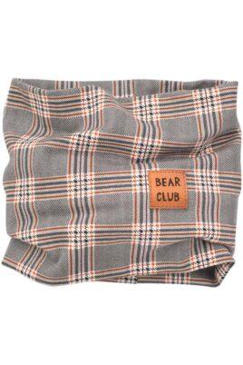 Pinokio grau gemustertes Baby Multifunktionstuch Halstuch mit Patch BEAR CLUB im Schottenmuster kariert – Jungen Schottenkaro Basic Schlauchtuch Schlauschal Loop Basic – Vorderansicht