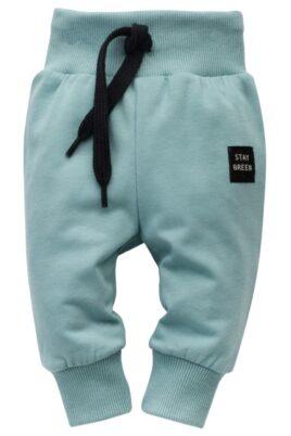 Pinokio türkise Kinder Baby Leggings Sweathose mit Kordel & Patch STAY GREEN für Jungen & Mädchen – Unifarben lange Schlupfhose & Babyhose in Blau-Grün – Vorderansicht