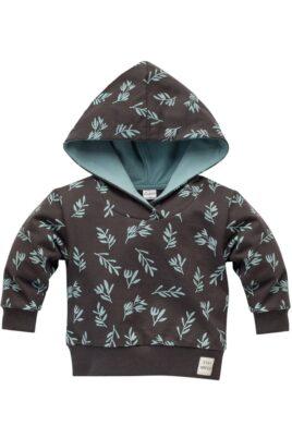 Pinokio brauner Kinder Baby Kapuzenpullover Hoodie Oberteil mit türkis grünen Zweige & Blätter, Patch STAY GREEN gemustert für Jungen & Mädchen – Vorderansicht