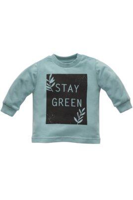 Pinokio türkis grünes Baby Kinder Langarmshirt Sweatshirt Oberteil mit STAY GREEN Print & Zweige mit Blätter für Jungen & Mädchen – Vorderansicht