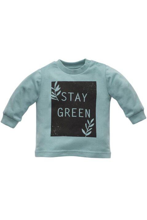 Türkis grünes Baby Kinder Langarmshirt Sweatshirt Oberteil mit STAY GREEN Print & Zweige mit Blätter für Jungen & Mädchen von Pinokio - Vorderansicht