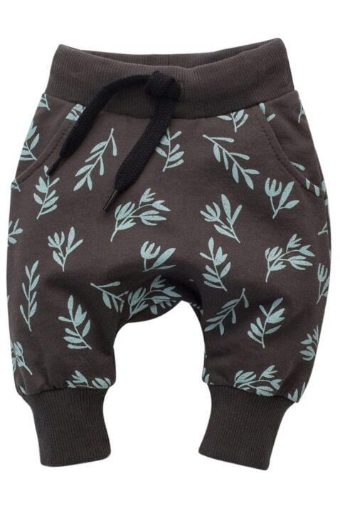 Braune Baby Kinder Pumphose Haremshose mit Taschen, Zweige mit Blätter All Over Muster für Jungen & Mädchen - STAY GREEN Babyhose Sweathose Pants Jogger von Pinokio - Vorderansicht