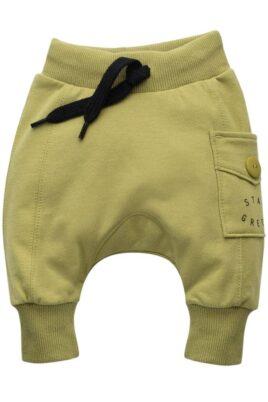 Pinokio Kinder Baby grüne Pumphose Haremshose mit Tasche STAY GREEN Print für Jungen & Mädchen – Lindgrün Lime Babyhose Sweathose Pants Jogger – Vorderansicht