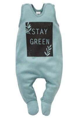 Pinokio türkis grüner Baby Einteiler Strampler mit Fuß & STAY GREEN Print für Jungen & Mädchen – Schlafstrampler Strampelanzug mit Füßen Babystrampler Baumwolle – Vorderansicht
