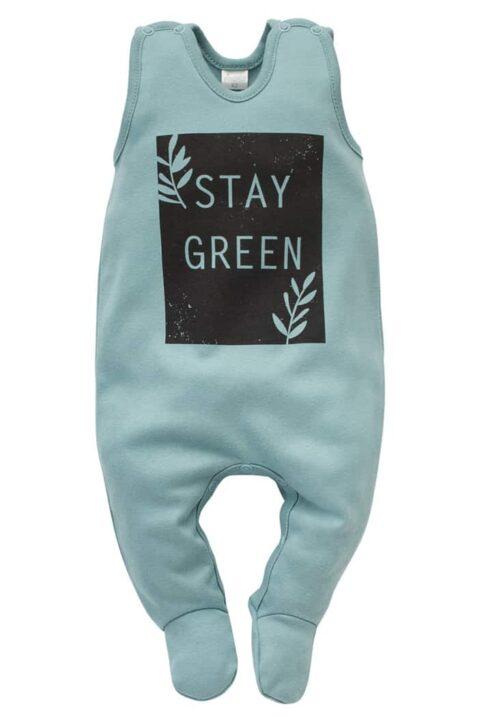 Türkis grüner Baby Einteiler Strampler mit Fuß & STAY GREEN Print für Jungen & Mädchen - Schlafstrampler Strampelanzug mit Füßen Babystrampler Baumwolle von Pinokio - Vorderansicht