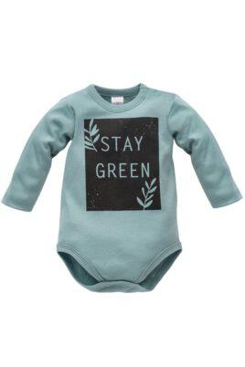 Pinokio türkis grüner Baby Body langarm mit STAY GREEN Print aus Baumwolle für Jungen & Mädchen – Kinder Langarmbody Babybody – Vorderansicht