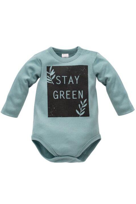 Türkis grüner Baby Body langarm mit STAY GREEN Print aus Baumwolle für Jungen & Mädchen - Kinder Langarmbody Babybody von Pinokio - Vorderansicht