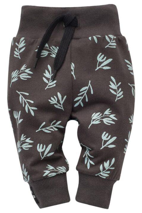 Braune Baby Kinder Leggings Sweathose mit Blätter gemustert, Kordel & Patch STAY GREEN für Jungen & Mädchen - Lange Schlupfhose & Babyhose von Pinokio - Vorderansicht