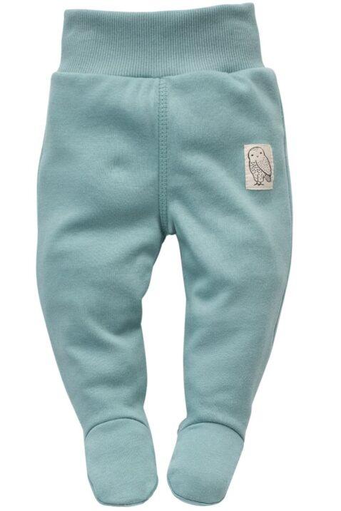 Baby türkis grüne Strampelhose mit Fuß & Patch Eule Uhu Kauz für Jungen & Mädchen - Halb Strampler Schlafhose von Pinokio - Vorderansicht