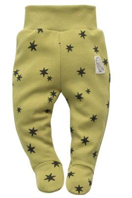 Pinokio Baby lindgrüne Halb-Strampler Strampelhose mit Fuß, Sterne Muster & Patch Uhu Eule Kauz für Jungen & Mädchen – Grüne Schlafhose – Vorderansicht