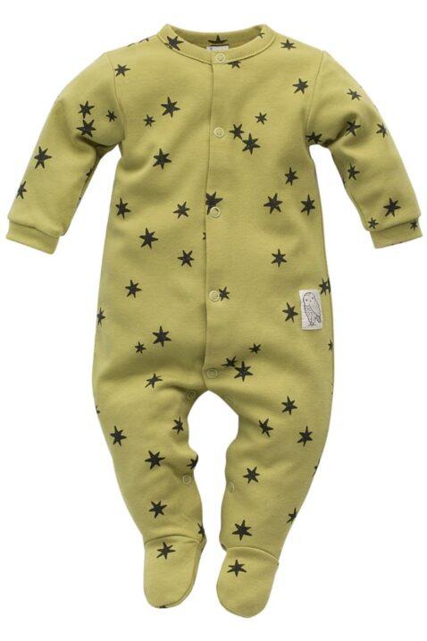 Baby Kinder langarm grüner lindgrün Schlafstrampler mit Fuß, Sterne gemustert & STAY GREEN Patch Einteiler von Pinokio - Vorderansicht