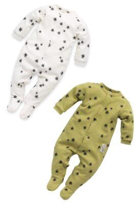 Pinokio Set Kinder Baby grüner limette & weißer Schlafoverall mit Fuß, Sterne Muster & Patch STAY GREEN für Jungen & Mädchen – Vorderansicht