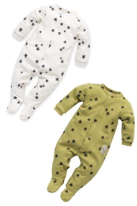 Set Kinder Baby grüner limette & weißer Schlafoverall mit Fuß, Sterne Muster & Patch STAY GREEN für Jungen & Mädchen von Pinokio - Vorderansicht