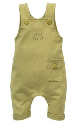 Pinokio grüne Baby Latzhose mit Tasche, Beinumschlag, Bündchen & STAY GREEN Print für Jungen & Mädchen – Langer Kinder Einteiler Trägerhose Babyhose – Vorderansicht